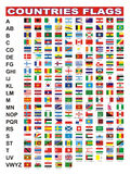 Countries flags. Flags of 205 countries with alphabet stock illustration
