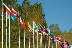Countries flags. To the wind Royalty Free Stock Photo