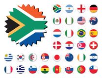 Countries flags badges stickers. Countries badges in sticker form, 32 countries Royalty Free Stock Images