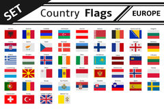 Countries flags europe. Set countries flags europe isolated royalty free illustration