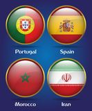 4 Countries Flags Group B for Soccer Championship. Portugal, Spain, Morocco, Iran Stock Photography