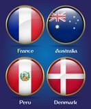 4 Countries Flags Group C for Soccer Championship. France, Australia, Peru, Denmark Royalty Free Stock Photo