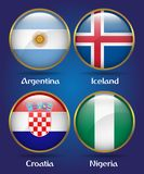 4 Countries Flags Group D for Soccer Championship. Argentina, Iceland, Croatia, Nigeria Stock Photo