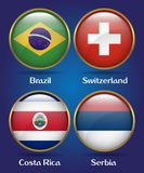 4 Countries Flags Group E for Soccer Championship. Brazil, Switzerland, Costa Rica, Serbia Royalty Free Stock Images