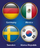 4 Countries Flags Group F for Soccer Championship. Germany, Mexico, Sweden, Korea Republic Royalty Free Stock Photos
