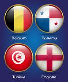 4 Countries Flags Group G for Soccer Championship. Belgium, Panama, Tunisia, England Royalty Free Stock Images
