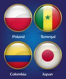 4 Countries Flags Group H for Soccer Championship. Poland, Senegal, Colombia, Japan Royalty Free Stock Images