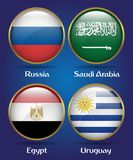 4 Countries Flags Group A for Soccer Championship. Russia, Saudi Arabia, Egypt, Uruguay Royalty Free Stock Photo