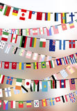 Countries flags hangs on the ropes Stock Photography