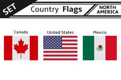 Countries flags north america Royalty Free Stock Photo