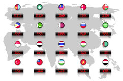 Countries flags with official currency symbols Royalty Free Stock Photography