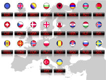 Countries flags with official currency symbols. Europe Stock Photography
