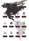 Countries flags with official currency symbols Stock Photography