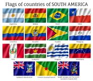 Countries flags of South America continent. National countries flags of South America continent. Ecuador, Argentina, Brazil, Chile, Colombia, Peru 3d realistic royalty free illustration