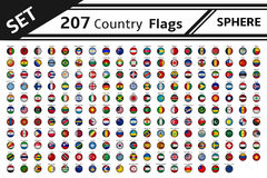 207 countries flags sphere shape. Set 207 countries flags sphere shape Stock Images
