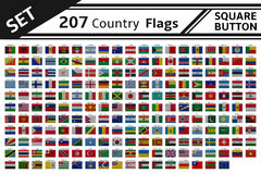 207 countries flags square button. Set 207 countries flags square button Stock Images