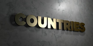 Countries - Gold sign mounted on glossy marble wall  - 3D rendered royalty free stock illustration Royalty Free Stock Photos