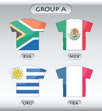 Countries icons, group A. Countries that participate in world cup 2010, South Africa, Mexico, Uruguay, France Royalty Free Stock Images