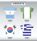 Countries icons, group B. Countries that participate in world cup 2010, Argentina, Nigeria, Korea Republic, Greece Royalty Free Stock Photo