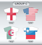 Countries icons, group C. Countries that participate in world cup 2010, English, USA, Algeria, Slovenia Royalty Free Stock Images