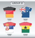 Countries icons, group D. Countries that participate in world cup 2010, Germany, Australia, Serbia, Ghana Royalty Free Stock Image