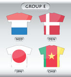 Countries icons, group E. Countries that participate in world cup 2010, Netherlands, Denmark, Japan, and Cameroon Stock Photography