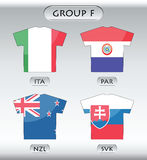 Countries icons, group F. Countries that participate in world cup 2010, Italy, Paraguay, New Zealand, Slovakia Stock Photo