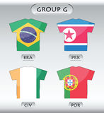 Countries icons, group G. Countries that participate in world cup 2010, Brazil, Korea DPR, cote ivoire, Portugal Stock Image