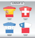 Countries icons, group H. Countries that participate in world cup 2010, Spain, Switzerland, Honduras, Chile Royalty Free Stock Images