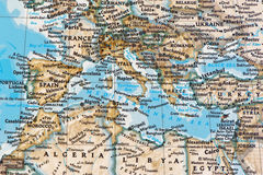 The Countries of the Mediterranean. On the map Stock Images