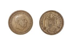 Countries` old coins, year 1966. A flat, typically round piece of metal with an official stamp, used as money royalty free stock photography