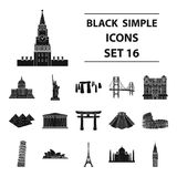 Countries set icons in black style. Big collection of countries vector symbol stock illustration. Countries set icons in black design. Big collection of Stock Images