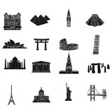 Countries set icons in black style. Big collection of countries vector symbol stock illustration Stock Image