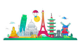 Countries - vector line travel illustration Royalty Free Stock Image