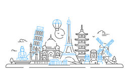 Countries - vector line travel illustration Royalty Free Stock Photos
