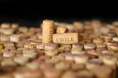 Countries winemakers. Chile`s name on wine corks. Stock Photo