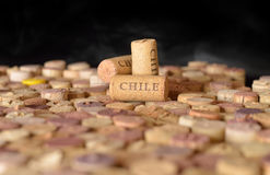 Countries winemakers. Chile`s name on wine corks. Royalty Free Stock Photo