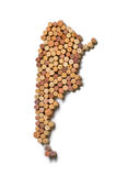 Countries winemakers - maps from wine corks. Map of Argentina on Royalty Free Stock Image