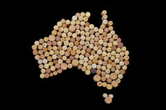 Countries winemakers - maps from wine corks. Map of Australia on Royalty Free Stock Photos