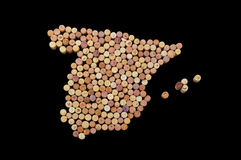Countries winemakers - maps from wine corks. Map of Spain on bla Royalty Free Stock Photography