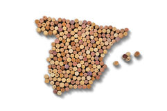 Countries winemakers - maps from wine corks. Map of Spain on whi Royalty Free Stock Photo