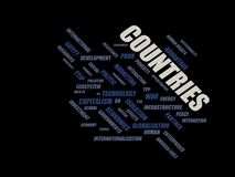 Countries - word cloud wordcloud - terms from the globalization, economy and policy environment Stock Photography