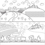 Countru房子谷仓稀薄的线描 免版税图库摄影