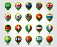 Country 3D pins with flags  Royalty Free Stock Images
