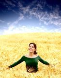 Country 48. A woman run in a corn-field Royalty Free Stock Photo