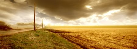 Country 5. A sunset and a countryland Royalty Free Stock Images