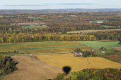 Country Aerial View Of Central New York State. Countryside Aerial View Just Outside Letchworth State Park In Central New York State Viewed From A Hot Air Balloon Royalty Free Stock Photo