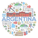 Country Argentina travel vacation guide of goods, places and features. Set of architecture, fashion, people, items or Royalty Free Stock Image