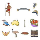 Country Australia cartoon icons in set collection for design.Travel and attractions vector symbol stock web illustration. Country Australia cartoon icons in set Royalty Free Stock Image