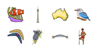 Country Australia icons in set collection for design.Travel and attractions vector symbol stock web illustration. Country Australia icons in set collection for Royalty Free Stock Image